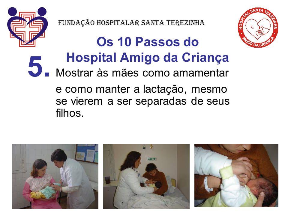 Os 10 Passos do Hospital Amigo da Criança 5. Mostrar às mães como amamentar e como manter a lactação, mesmo se vierem a ser separadas de seus filhos.