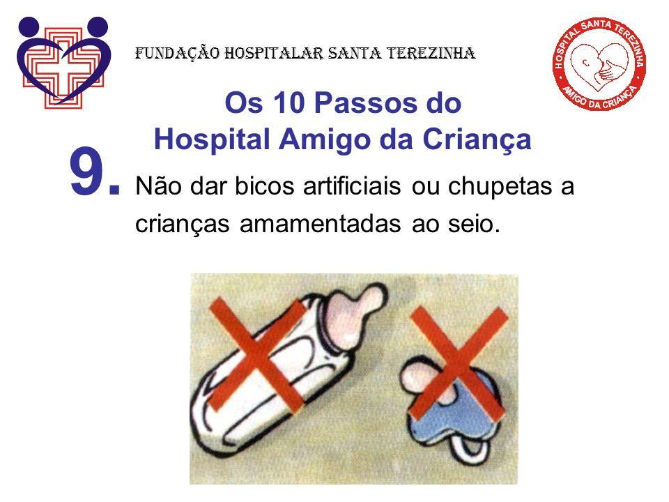 Os 10 Passos do Hospital Amigo da Criança 9. Não dar bicos artificiais ou chupetas a crianças amamentadas ao seio. Fundação Hospitalar Santa Terezinha