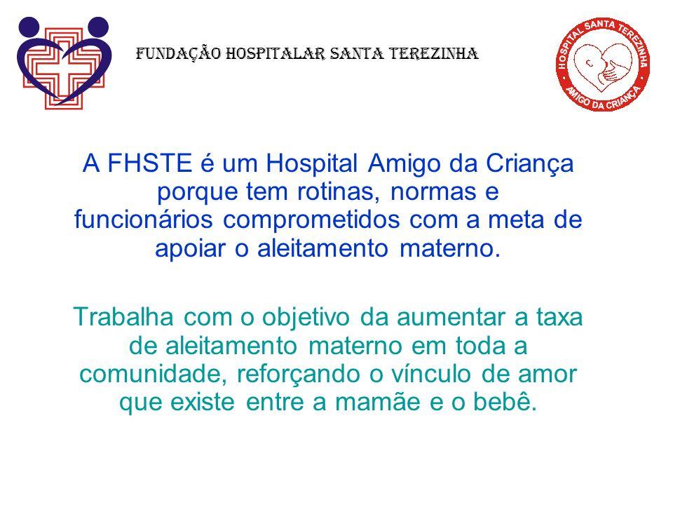 A FHSTE é um Hospital Amigo da Criança porque tem rotinas, normas e funcionários comprometidos com a meta de apoiar o aleitamento materno. Trabalha co