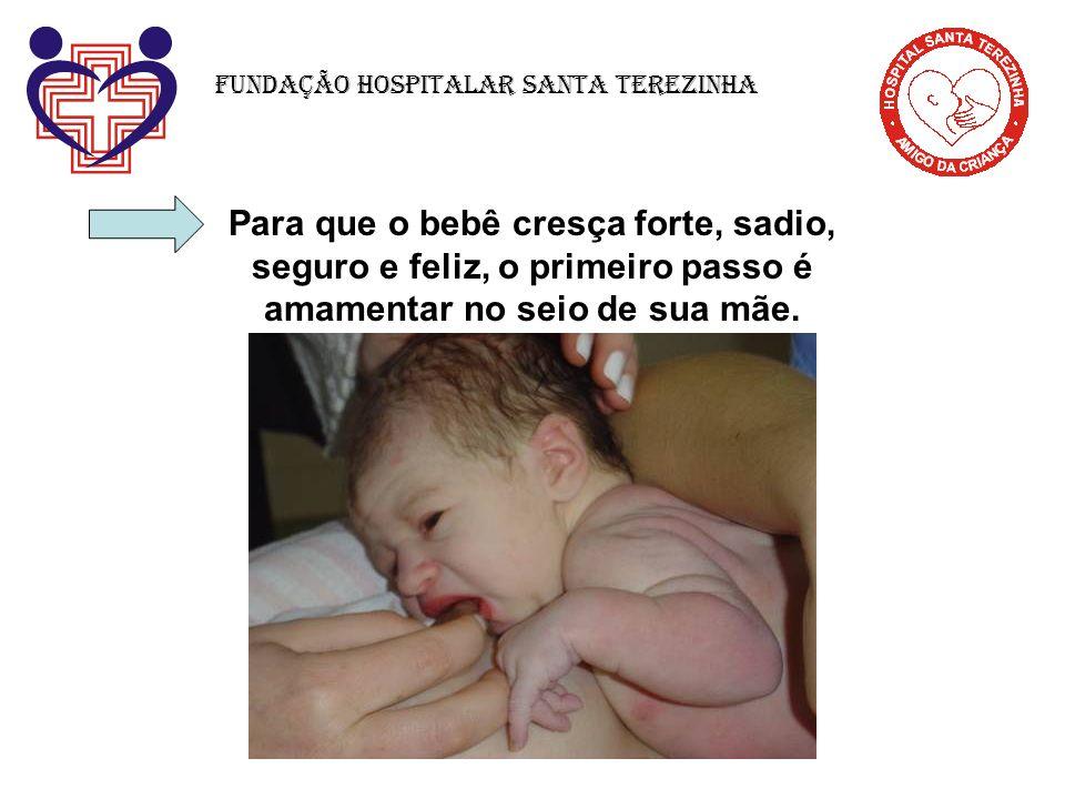 Para que o bebê cresça forte, sadio, seguro e feliz, o primeiro passo é amamentar no seio de sua mãe. Fundação Hospitalar Santa Terezinha