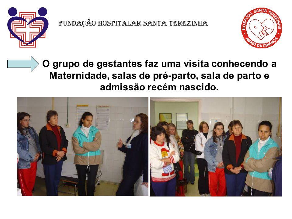 O grupo de gestantes faz uma visita conhecendo a Maternidade, salas de pré-parto, sala de parto e admissão recém nascido. Fundação Hospitalar Santa Te