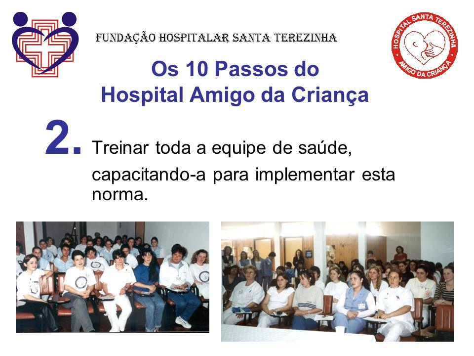 Os 10 Passos do Hospital Amigo da Criança 2. Treinar toda a equipe de saúde, capacitando-a para implementar esta norma. Fundação Hospitalar Santa Tere