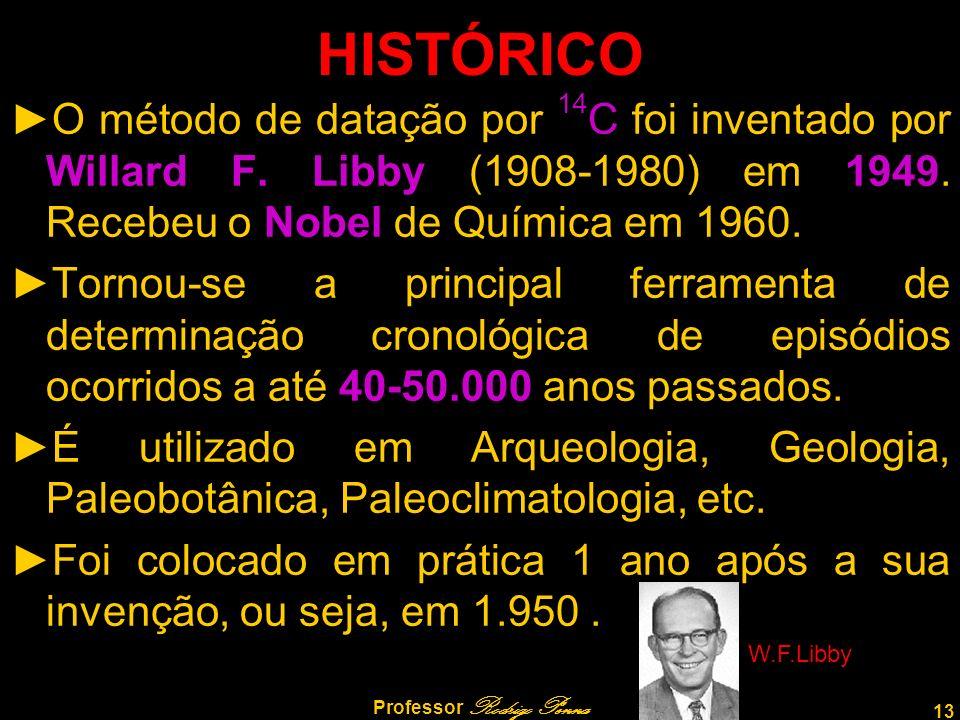 13 Professor Rodrigo Penna HISTÓRICO O método de datação por 14 C foi inventado por Willard F. Libby (1908-1980) em 1949. Recebeu o Nobel de Química e