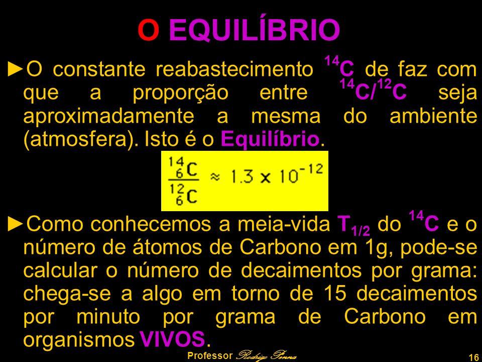 16 Professor Rodrigo Penna O EQUILÍBRIO O constante reabastecimento 14 C de faz com que a proporção entre 14 C/ 12 C seja aproximadamente a mesma do a