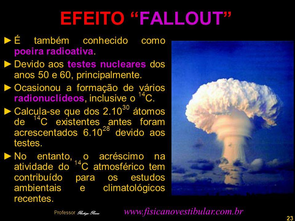 23 EFEITO FALLOUT É também conhecido como poeira radioativa. Devido aos testes nucleares dos anos 50 e 60, principalmente. Ocasionou a formação de vár