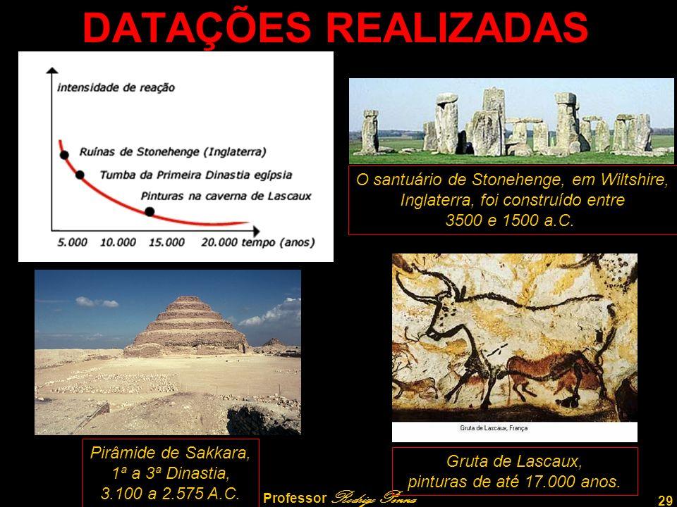 29 Professor Rodrigo Penna DATAÇÕES REALIZADAS O santuário de Stonehenge, em Wiltshire, Inglaterra, foi construído entre 3500 e 1500 a.C.