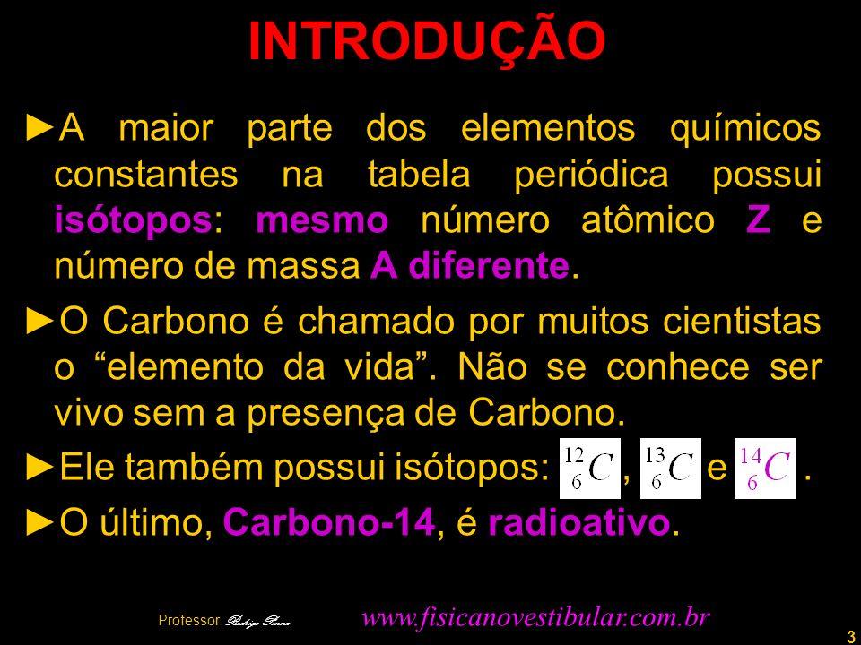 3 INTRODUÇÃO A maior parte dos elementos químicos constantes na tabela periódica possui isótopos: mesmo número atômico Z e número de massa A diferente