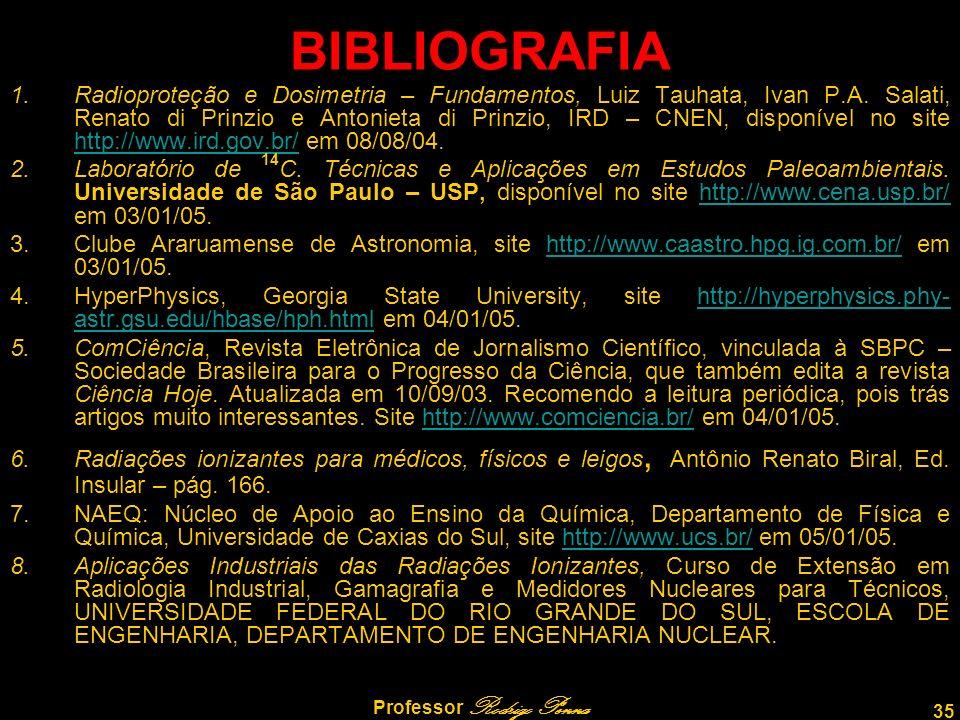 35 Professor Rodrigo Penna BIBLIOGRAFIA 1.Radioproteção e Dosimetria – Fundamentos, Luiz Tauhata, Ivan P.A.