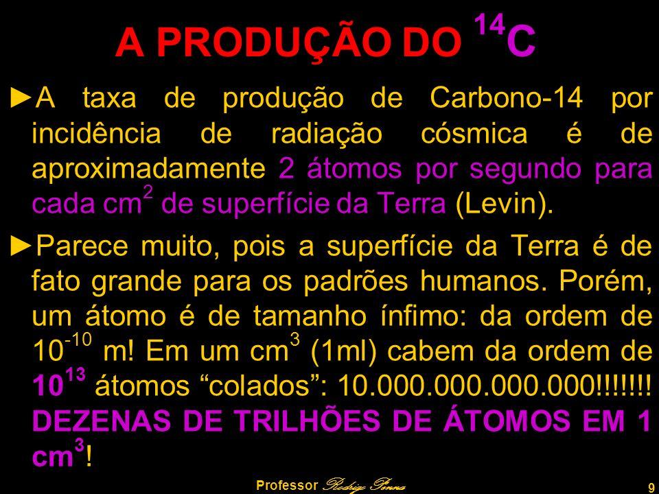 9 Professor Rodrigo Penna A PRODUÇÃO DO 14 C A taxa de produção de Carbono-14 por incidência de radiação cósmica é de aproximadamente 2 átomos por segundo para cada cm 2 de superfície da Terra (Levin).