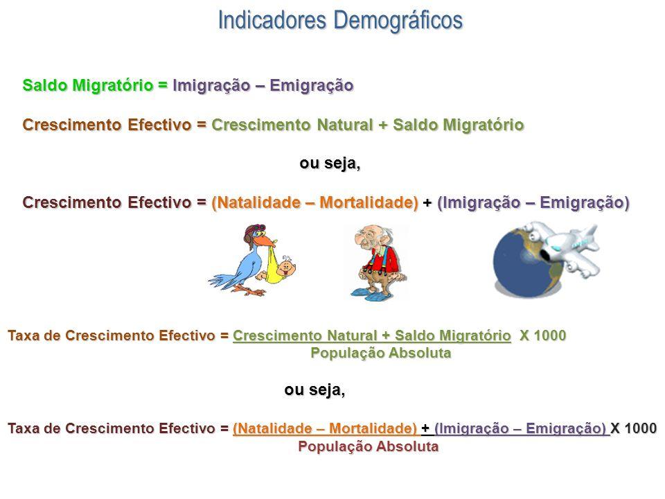 Indicadores Demográficos Saldo Migratório = Imigração – Emigração Crescimento Efectivo = Crescimento Natural + Saldo Migratório ou seja, ou seja, Cres