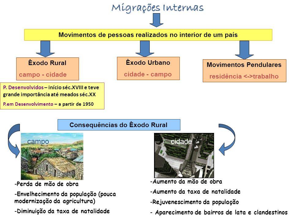 Migrações Internas Movimentos de pessoas realizados no interior de um país Êxodo Rural campo - cidade Êxodo Urbano cidade - campo Movimentos Pendulare