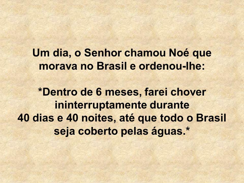 Um dia, o Senhor chamou Noé que morava no Brasil e ordenou-lhe: *Dentro de 6 meses, farei chover ininterruptamente durante 40 dias e 40 noites, até que todo o Brasil seja coberto pelas águas.*