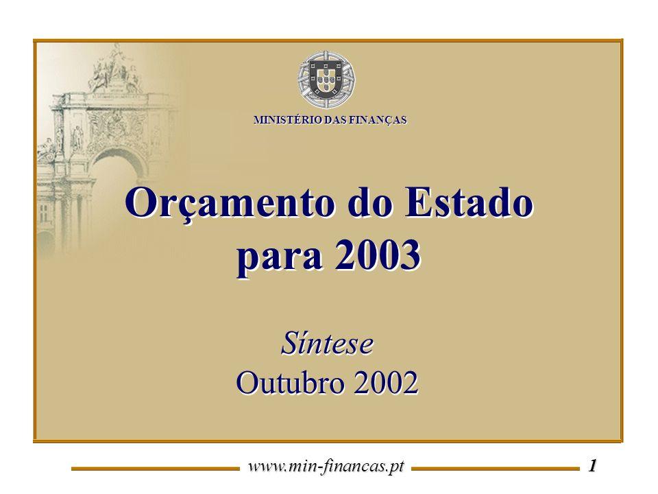 www.min-financas.pt 1 Síntese Outubro 2002 Síntese Outubro 2002 Orçamento do Estado para 2003 MINISTÉRIO DAS FINANÇAS