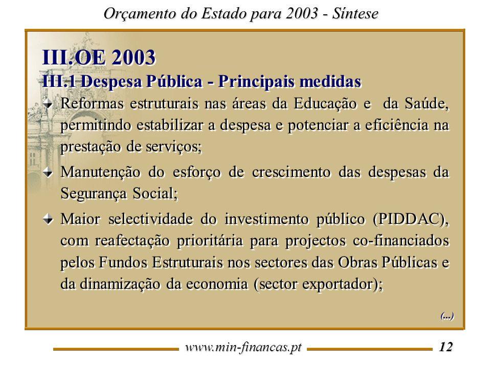 www.min-financas.pt 12 Orçamento do Estado para 2003 - Síntese Reformas estruturais nas áreas da Educação e da Saúde, permitindo estabilizar a despesa e potenciar a eficiência na prestação de serviços; Manutenção do esforço de crescimento das despesas da Segurança Social; Maior selectividade do investimento público (PIDDAC), com reafectação prioritária para projectos co-financiados pelos Fundos Estruturais nos sectores das Obras Públicas e da dinamização da economia (sector exportador); Reformas estruturais nas áreas da Educação e da Saúde, permitindo estabilizar a despesa e potenciar a eficiência na prestação de serviços; Manutenção do esforço de crescimento das despesas da Segurança Social; Maior selectividade do investimento público (PIDDAC), com reafectação prioritária para projectos co-financiados pelos Fundos Estruturais nos sectores das Obras Públicas e da dinamização da economia (sector exportador); III.OE 2003 III.1 Despesa Pública - Principais medidas III.OE 2003 III.1 Despesa Pública - Principais medidas (...)