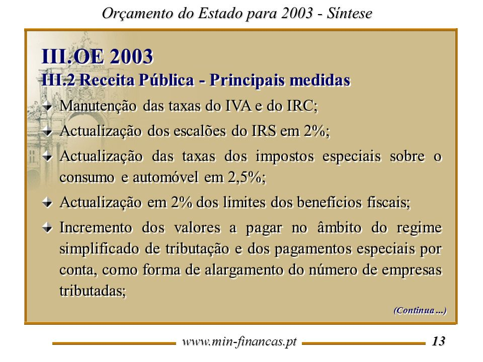 www.min-financas.pt 13 Orçamento do Estado para 2003 - Síntese Manutenção das taxas do IVA e do IRC; Actualização dos escalões do IRS em 2%; Actualização das taxas dos impostos especiais sobre o consumo e automóvel em 2,5%; Actualização em 2% dos limites dos benefícios fiscais; Incremento dos valores a pagar no âmbito do regime simplificado de tributação e dos pagamentos especiais por conta, como forma de alargamento do número de empresas tributadas; Manutenção das taxas do IVA e do IRC; Actualização dos escalões do IRS em 2%; Actualização das taxas dos impostos especiais sobre o consumo e automóvel em 2,5%; Actualização em 2% dos limites dos benefícios fiscais; Incremento dos valores a pagar no âmbito do regime simplificado de tributação e dos pagamentos especiais por conta, como forma de alargamento do número de empresas tributadas; III.OE 2003 III.2 Receita Pública - Principais medidas III.OE 2003 III.2 Receita Pública - Principais medidas (Continua...)