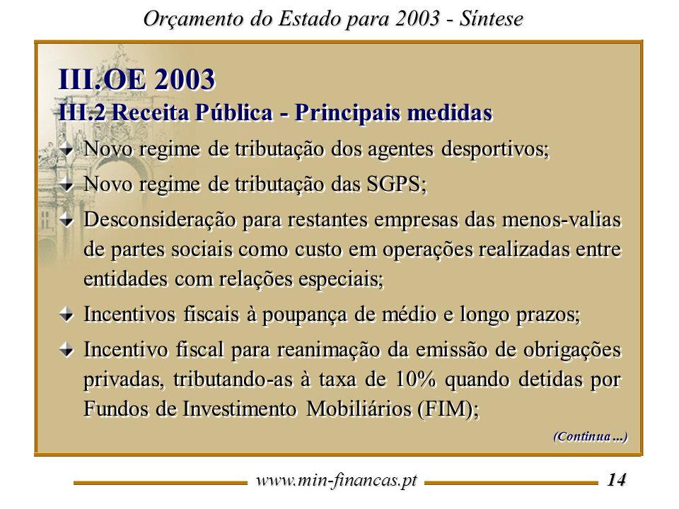 www.min-financas.pt 14 Orçamento do Estado para 2003 - Síntese Novo regime de tributação dos agentes desportivos; Novo regime de tributação das SGPS;