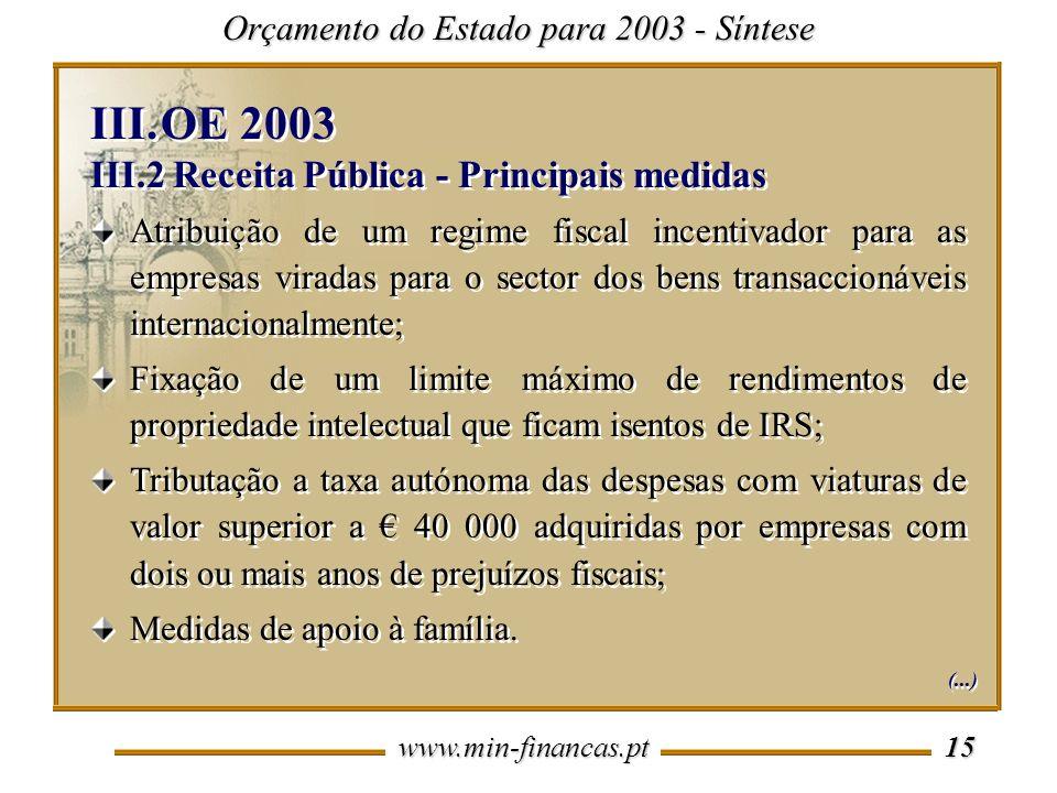 www.min-financas.pt 15 Orçamento do Estado para 2003 - Síntese Atribuição de um regime fiscal incentivador para as empresas viradas para o sector dos