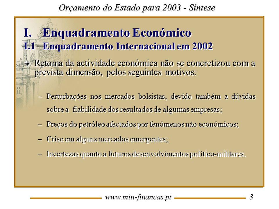 www.min-financas.pt 3 I.Enquadramento Económico I.1 Enquadramento Internacional em 2002 I.Enquadramento Económico I.1 Enquadramento Internacional em 2