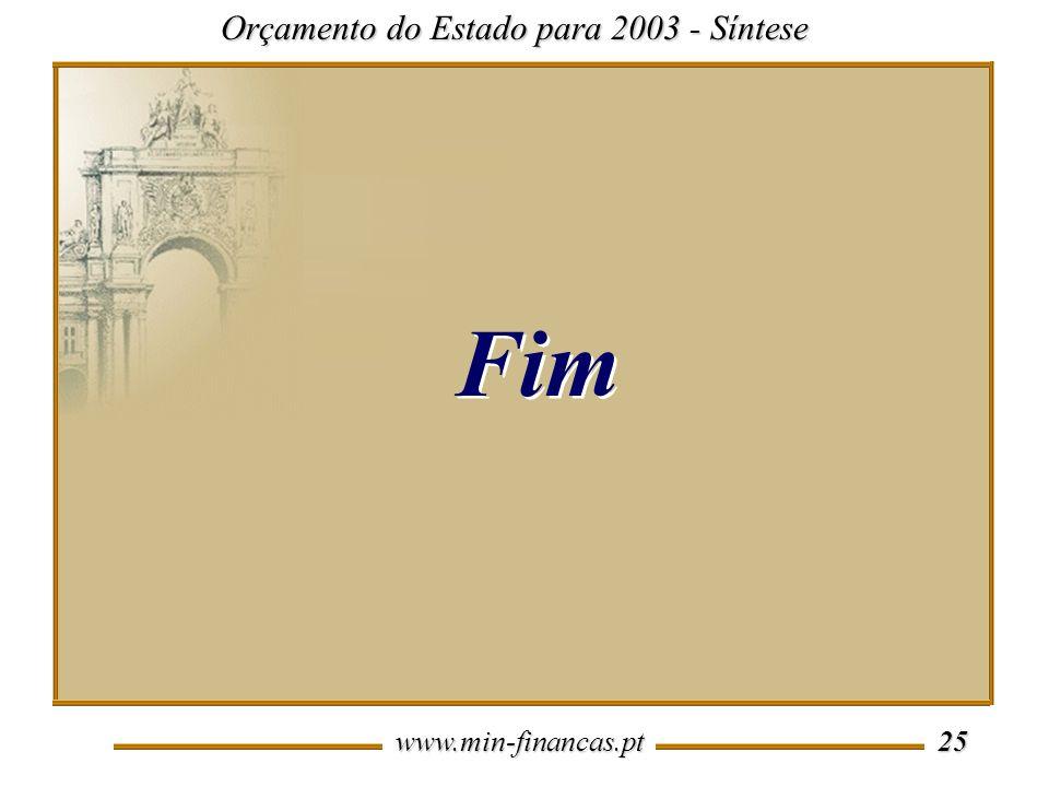 www.min-financas.pt 25 Orçamento do Estado para 2003 - Síntese Fim