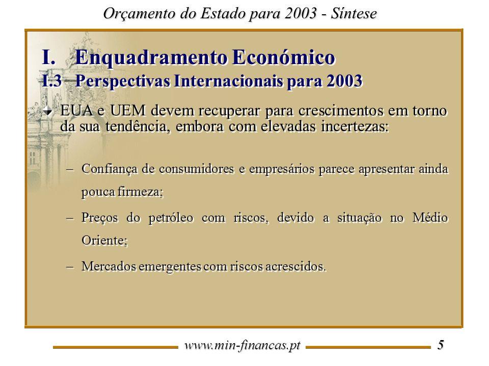 www.min-financas.pt 5 I.Enquadramento Económico I.3 Perspectivas Internacionais para 2003 I.Enquadramento Económico I.3 Perspectivas Internacionais pa