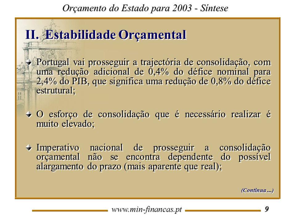 www.min-financas.pt 9 II.Estabilidade Orçamental Orçamento do Estado para 2003 - Síntese Portugal vai prosseguir a trajectória de consolidação, com um