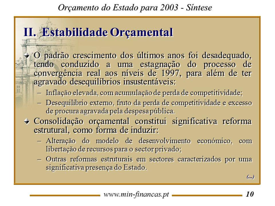 www.min-financas.pt 10 II.Estabilidade Orçamental Orçamento do Estado para 2003 - Síntese O padrão crescimento dos últimos anos foi desadequado, tendo