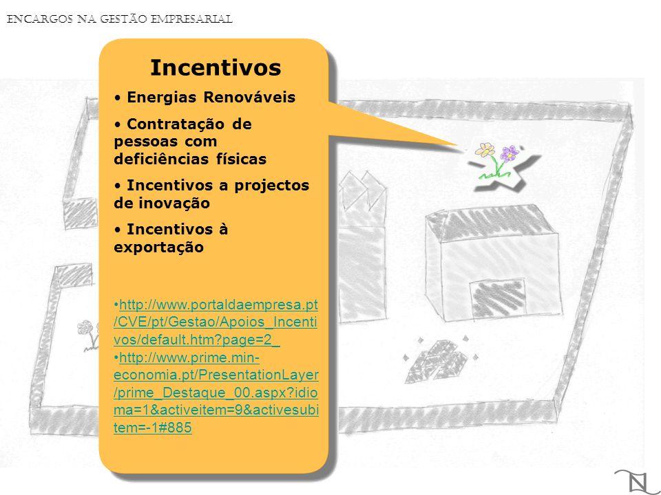 Incentivos Energias Renováveis Contratação de pessoas com deficiências físicas Incentivos a projectos de inovação Incentivos à exportação http://www.portaldaempresa.pt /CVE/pt/Gestao/Apoios_Incenti vos/default.htm?page=2_http://www.portaldaempresa.pt /CVE/pt/Gestao/Apoios_Incenti vos/default.htm?page=2_ http://www.prime.min- economia.pt/PresentationLayer /prime_Destaque_00.aspx?idio ma=1&activeitem=9&activesubi tem=-1#885http://www.prime.min- economia.pt/PresentationLayer /prime_Destaque_00.aspx?idio ma=1&activeitem=9&activesubi tem=-1#885 Encargos na Gestão Empresarial