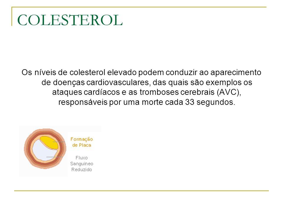 COLESTEROL Os níveis de colesterol elevado podem conduzir ao aparecimento de doenças cardiovasculares, das quais são exemplos os ataques cardíacos e a