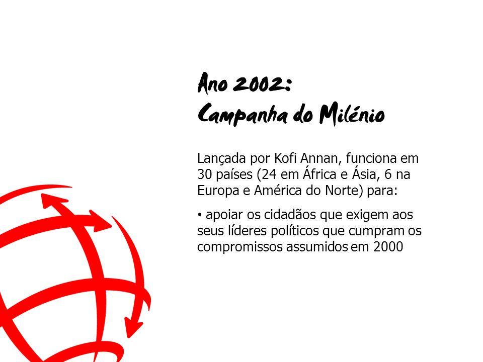Lançada por Kofi Annan, funciona em 30 países (24 em África e Ásia, 6 na Europa e América do Norte) para: apoiar os cidadãos que exigem aos seus líderes políticos que cumpram os compromissos assumidos em 2000