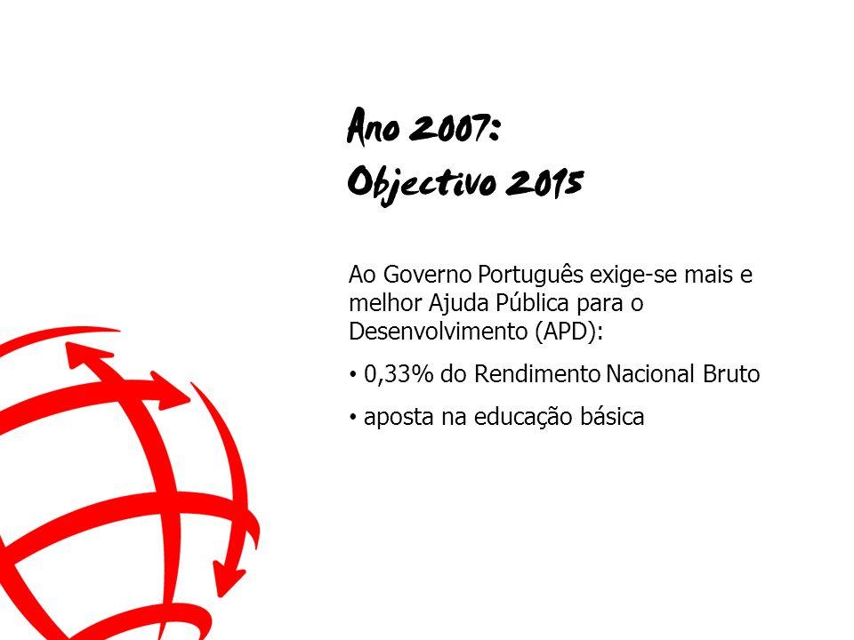 Ao Governo Português exige-se mais e melhor Ajuda Pública para o Desenvolvimento (APD): 0,33% do Rendimento Nacional Bruto aposta na educação básica