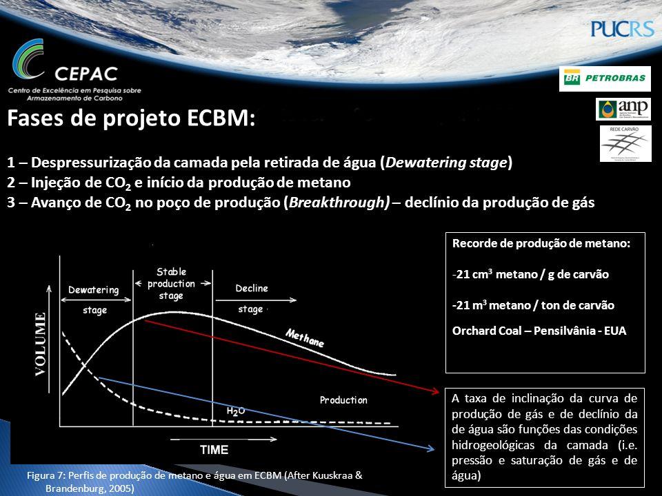 Fases de projeto ECBM: 1 – Despressurização da camada pela retirada de água (Dewatering stage) 2 – Injeção de CO 2 e início da produção de metano 3 – Avanço de CO 2 no poço de produção (Breakthrough) – declínio da produção de gás Recorde de produção de metano: -21 cm 3 metano / g de carvão -21 m 3 metano / ton de carvão Orchard Coal – Pensilvânia - EUA A taxa de inclinação da curva de produção de gás e de declínio da de água são funções das condições hidrogeológicas da camada (i.e.
