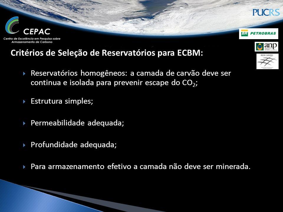 Critérios de Seleção de Reservatórios para ECBM: Reservatórios homogêneos: a camada de carvão deve ser continua e isolada para prevenir escape do CO 2 ; Estrutura simples; Permeabilidade adequada; Profundidade adequada; Para armazenamento efetivo a camada não deve ser minerada.