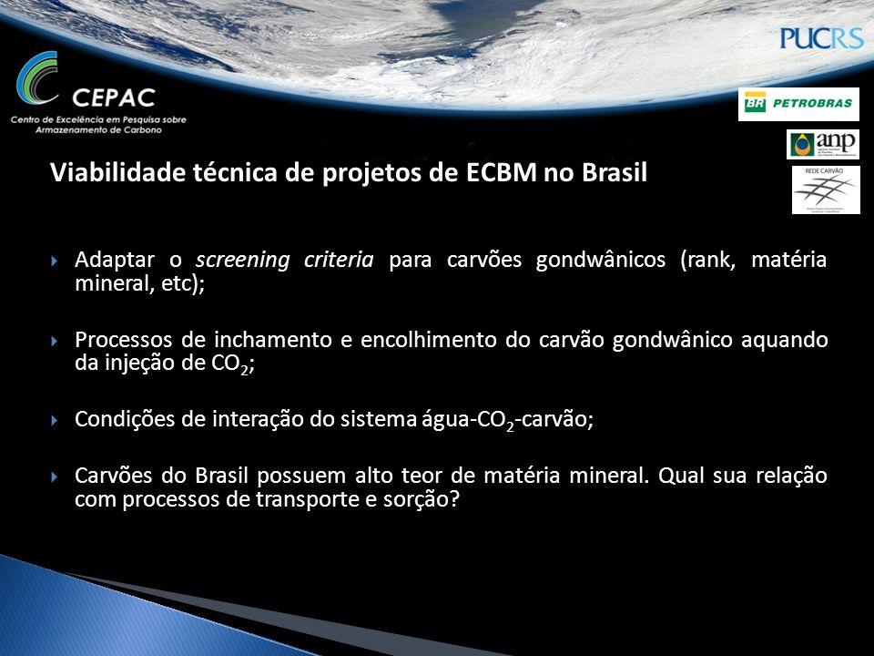 Viabilidade técnica de projetos de ECBM no Brasil Adaptar o screening criteria para carvões gondwânicos (rank, matéria mineral, etc); Processos de inc