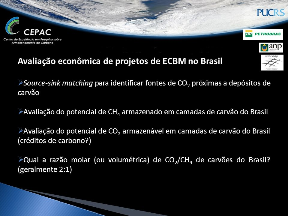 Avaliação econômica de projetos de ECBM no Brasil Source-sink matching para identificar fontes de CO 2 próximas a depósitos de carvão Avaliação do pot