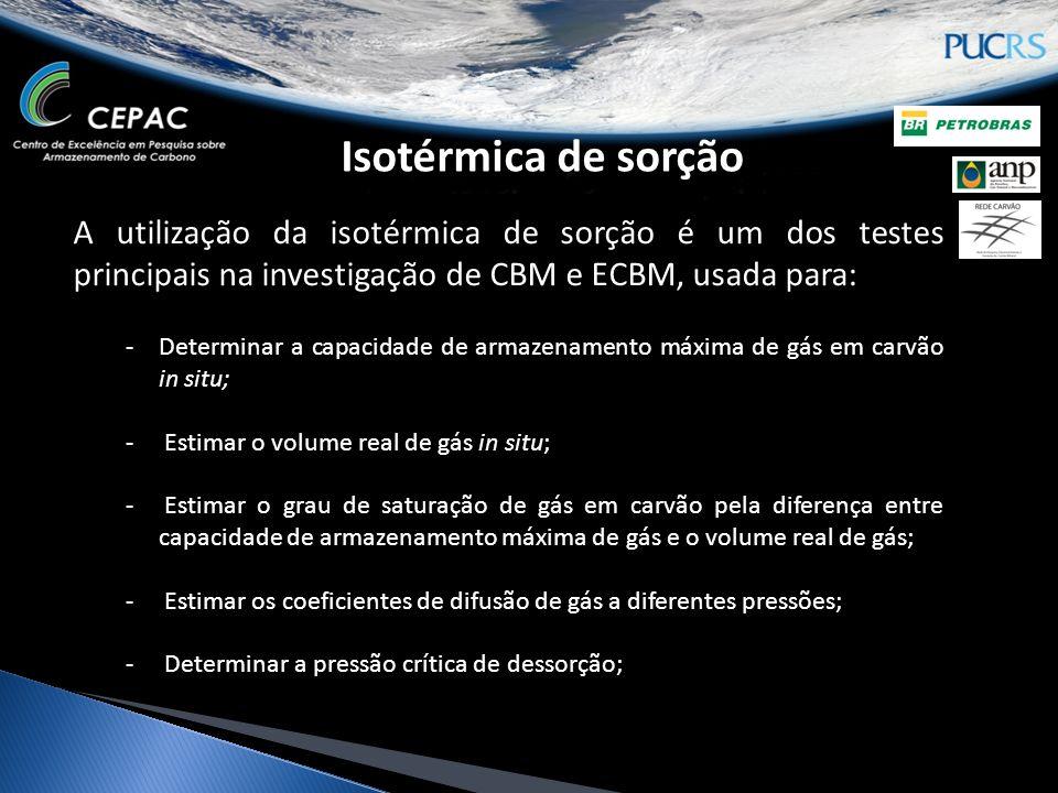 Isotérmica de sorção A utilização da isotérmica de sorção é um dos testes principais na investigação de CBM e ECBM, usada para: -Determinar a capacida
