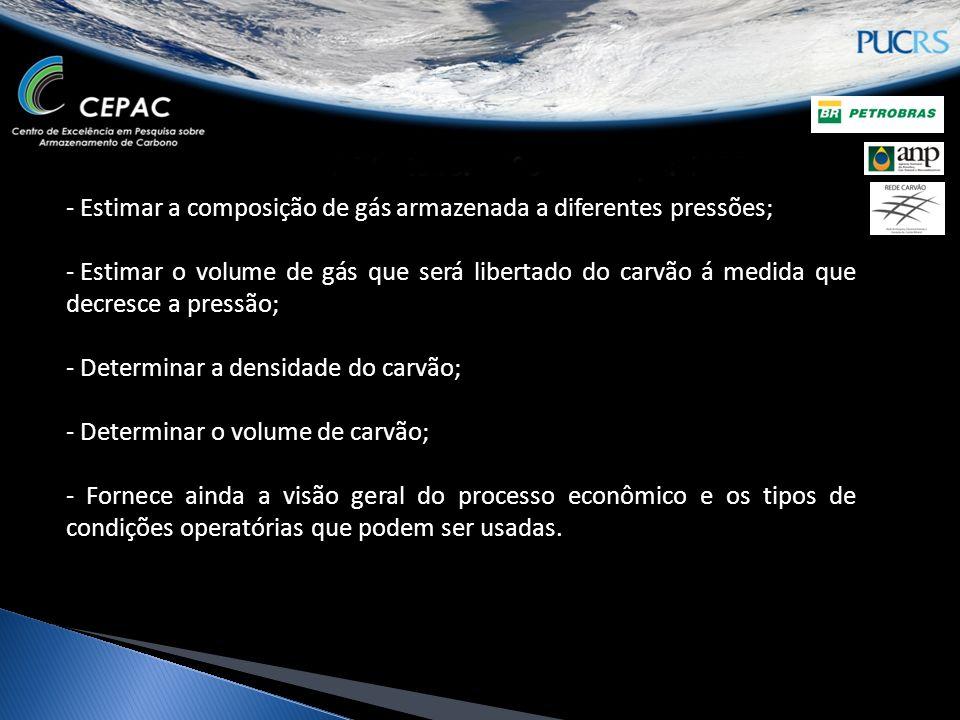 Avaliação econômica de projetos de ECBM no Brasil Source-sink matching para identificar fontes de CO 2 próximas a depósitos de carvão Avaliação do potencial de CH 4 armazenado em camadas de carvão do Brasil Avaliação do potencial de CO 2 armazenável em camadas de carvão do Brasil (créditos de carbono?) Qual a razão molar (ou volumétrica) de CO 2 /CH 4 de carvões do Brasil.