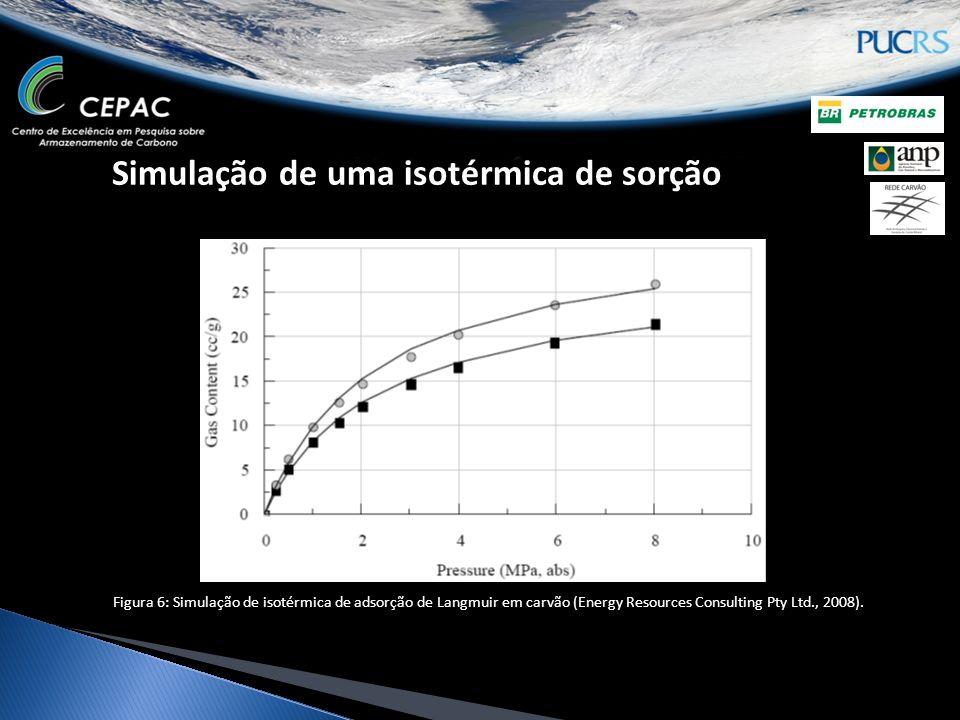 Simulação de uma isotérmica de sorção Figura 6: Simulação de isotérmica de adsorção de Langmuir em carvão (Energy Resources Consulting Pty Ltd., 2008).
