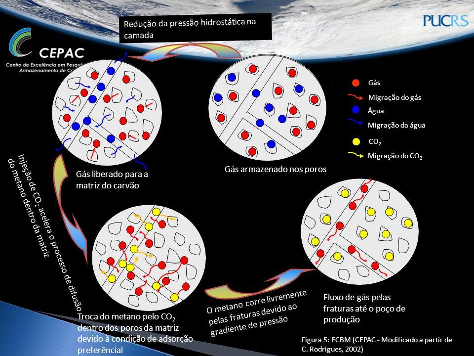 Cleat Gás armazenado nos poros Gás liberado para a matriz do carvão Troca do metano pelo CO 2 dentro dos poros da matriz devido à condição de adsorção preferêncial Fluxo de gás pelas fraturas até o poço de produção Redução da pressão hidrostática na camada Injeção de CO 2 acelera o processo de difusão do metano dentro da matriz O metano corre livremente pelas fraturas devido ao gradiente de pressão Gás Migração do gás Água Migração da água Figura 5: ECBM (CEPAC - Modificado a partir de C.