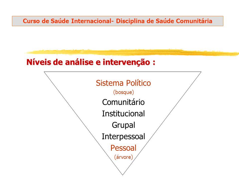 Níveis de análise e intervenção : Sistema Político (bosque) Comunitário Institucional Grupal Interpessoal Pessoal (árvore) Aventura Social, M.