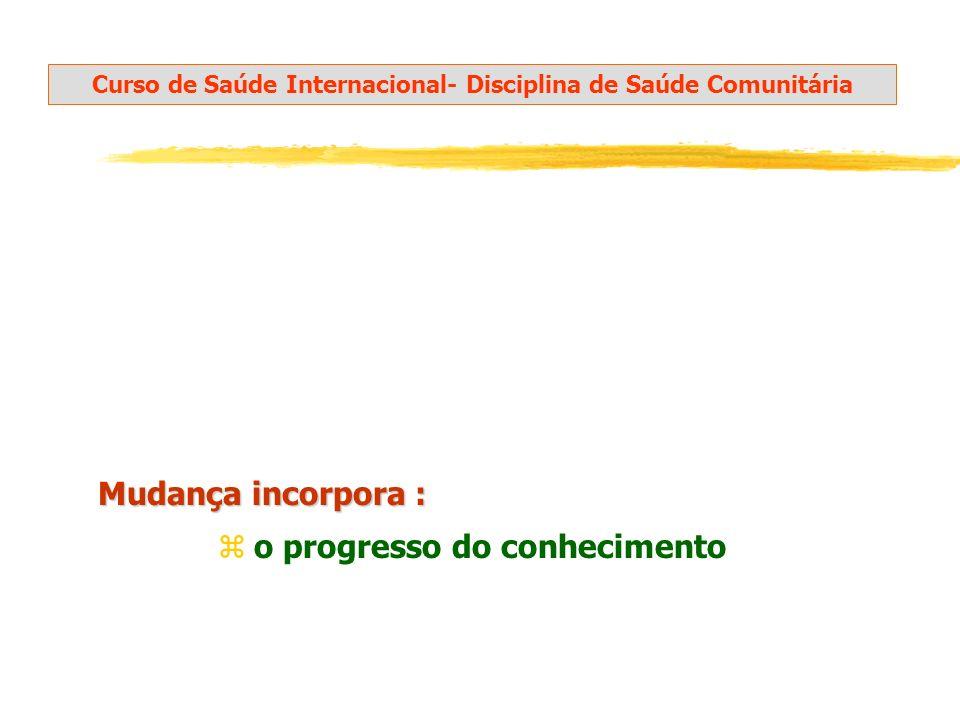 Mudança incorpora : Curso de Saúde Internacional- Disciplina de Saúde Comunitária zo progresso do conhecimento