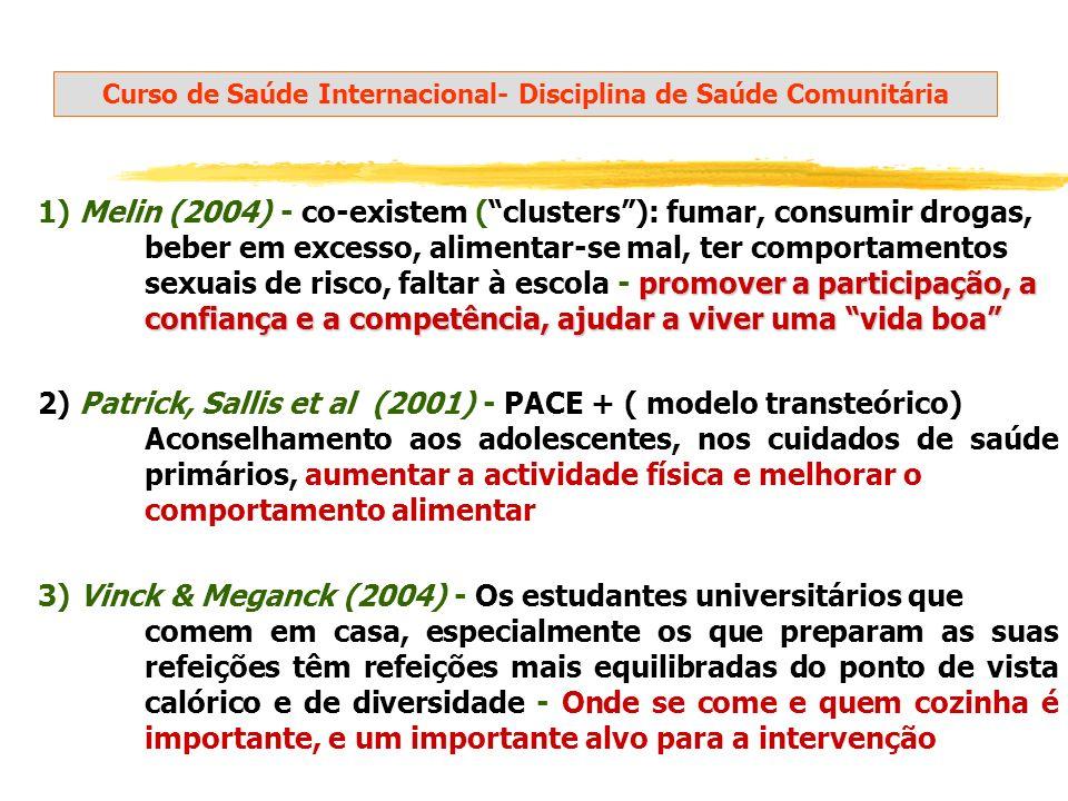 promover a participação, a confiança e a competência, ajudar a viver uma vida boa 1) Melin (2004) - co-existem (clusters): fumar, consumir drogas, beb