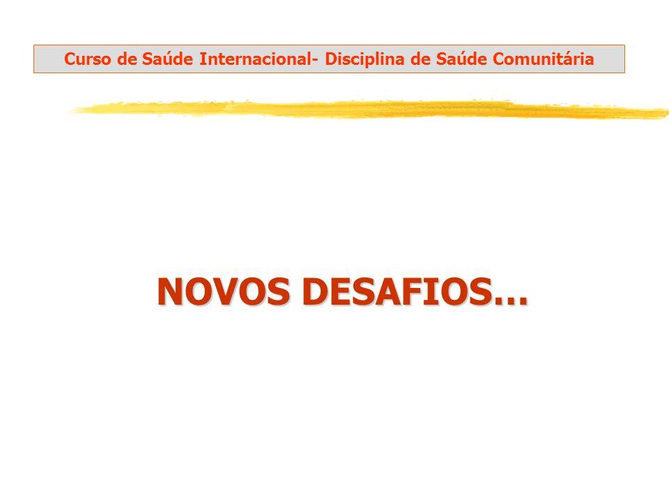 NOVOS DESAFIOS… NOVOS DESAFIOS… Curso de Saúde Internacional- Disciplina de Saúde Comunitária
