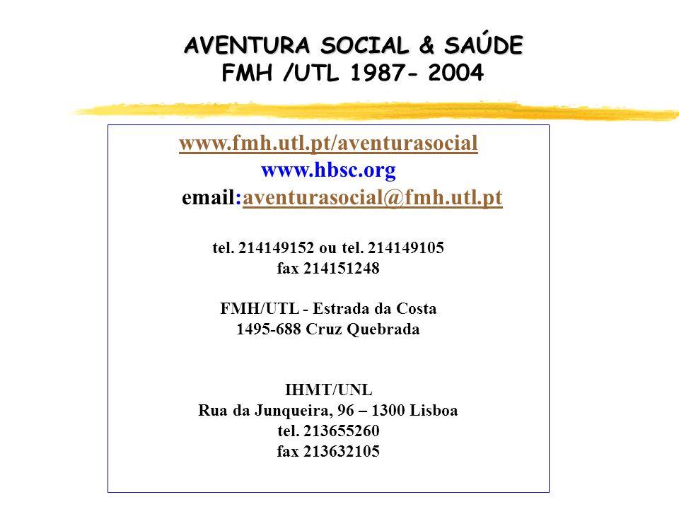 www.fmh.utl.pt/aventurasocial www.hbsc.org email:aventurasocial@fmh.utl.ptaventurasocial@fmh.utl.pt tel. 214149152 ou tel. 214149105 fax 214151248 FMH