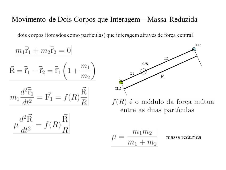 Movimento de Dois Corpos que InteragemMassa Reduzida dois corpos (tomados como partículas) que interagem através de força central r1r1 r2r2 cm m2m2 m1m1 R massa reduzida