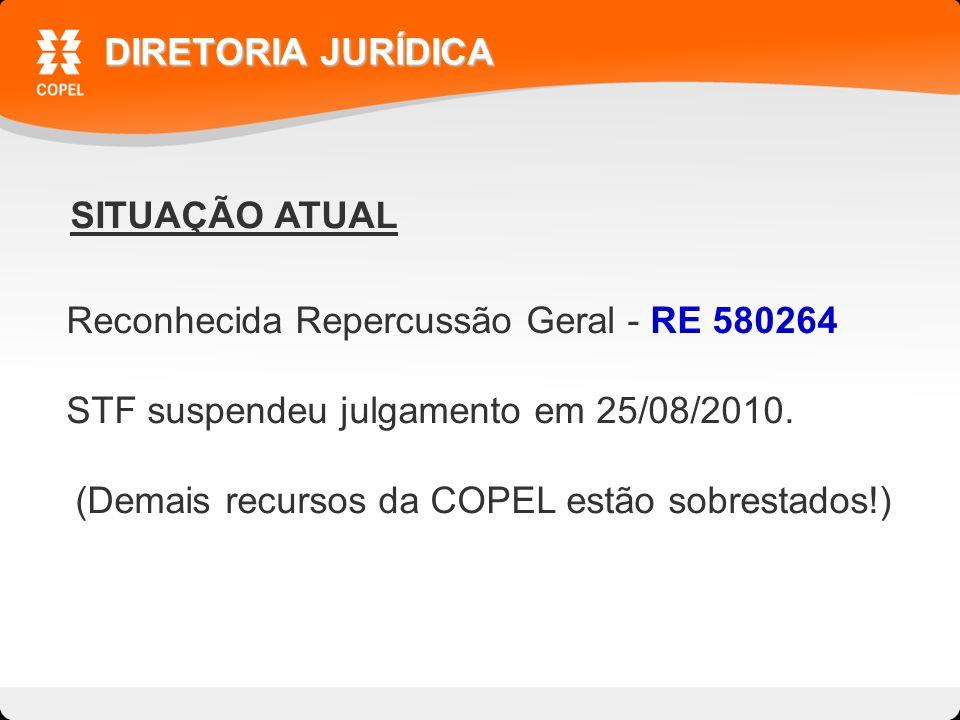 SITUAÇÃO ATUAL DIRETORIA JURÍDICA Reconhecida Repercussão Geral - RE 580264 STF suspendeu julgamento em 25/08/2010.