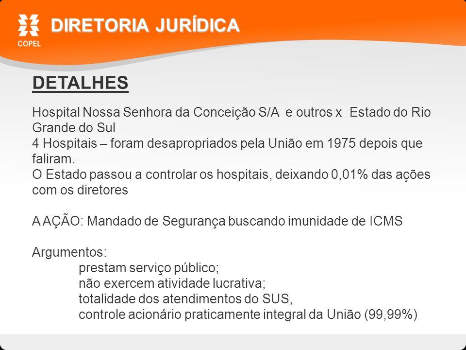 DETALHES DIRETORIA JURÍDICA Hospital Nossa Senhora da Conceição S/A e outros x Estado do Rio Grande do Sul 4 Hospitais – foram desapropriados pela União em 1975 depois que faliram.