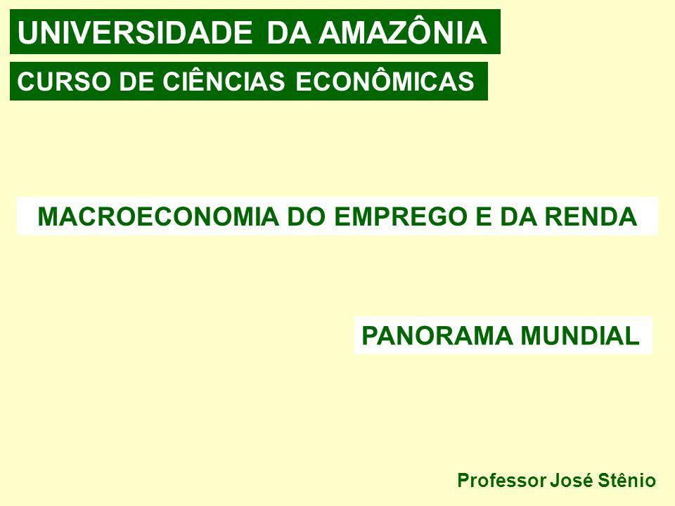 UNIVERSIDADE DA AMAZÔNIA MACROECONOMIA DO EMPREGO E DA RENDA CURSO DE CIÊNCIAS ECONÔMICAS Professor José Stênio PANORAMA MUNDIAL