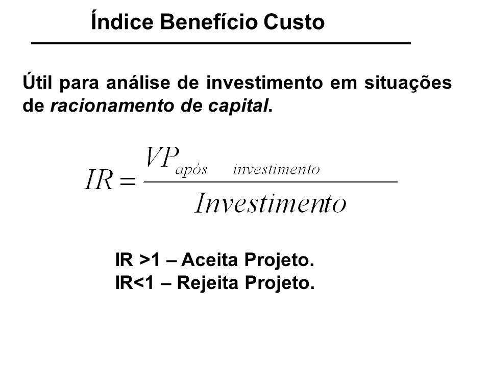 Índice Benefício Custo Para três projetos não mutuamente excludentes e racionamento de capital no ano 0 de R$ 20.000,00 escolha a(s) alternativa(s) mais rentáveis.