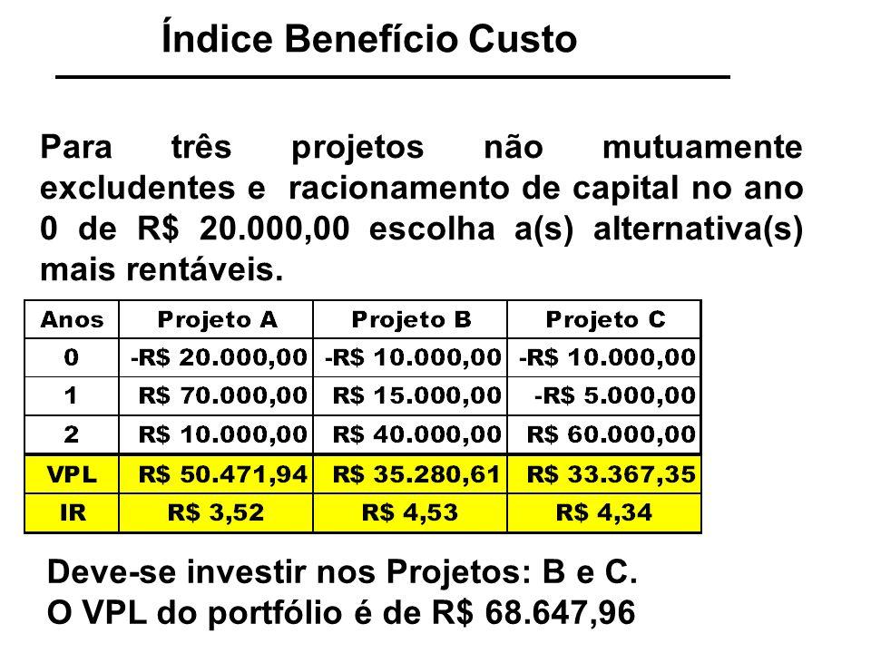 Índice Benefício Custo Para três projetos não mutuamente excludentes e racionamento de capital no ano 0 de R$ 20.000,00 escolha a(s) alternativa(s) ma