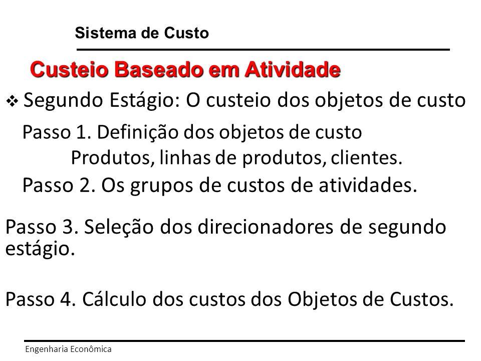 Engenharia Econômica Sistema de Custo Custeio Baseado em Atividade Segundo Estágio: O custeio dos objetos de custo Passo 1.